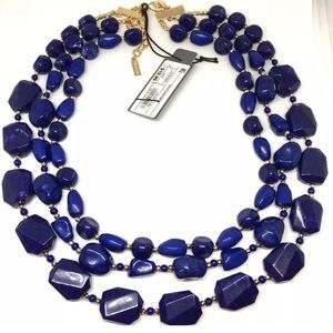 Dark Blue Multi Strand Beaded Statement Necklace